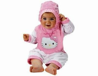 Gambar bayi lucu pakai baju hello kitty terbaru