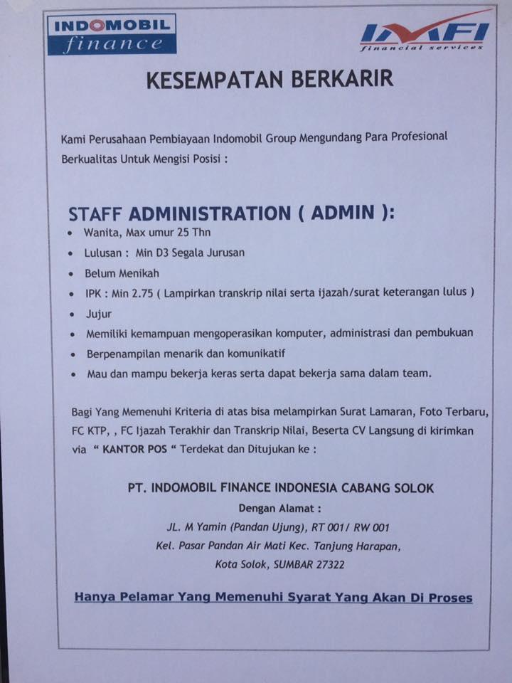 Lowongan Kerja di Solok – PT.Indomobil Finance Indonesia Cab.Solok – Admin (Februari 2017)