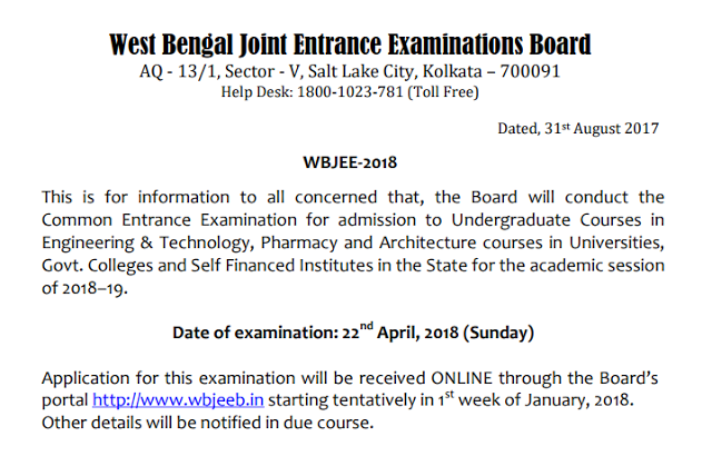 WBJEE wbjeeb.nic.in Online Application Form Exam Notification