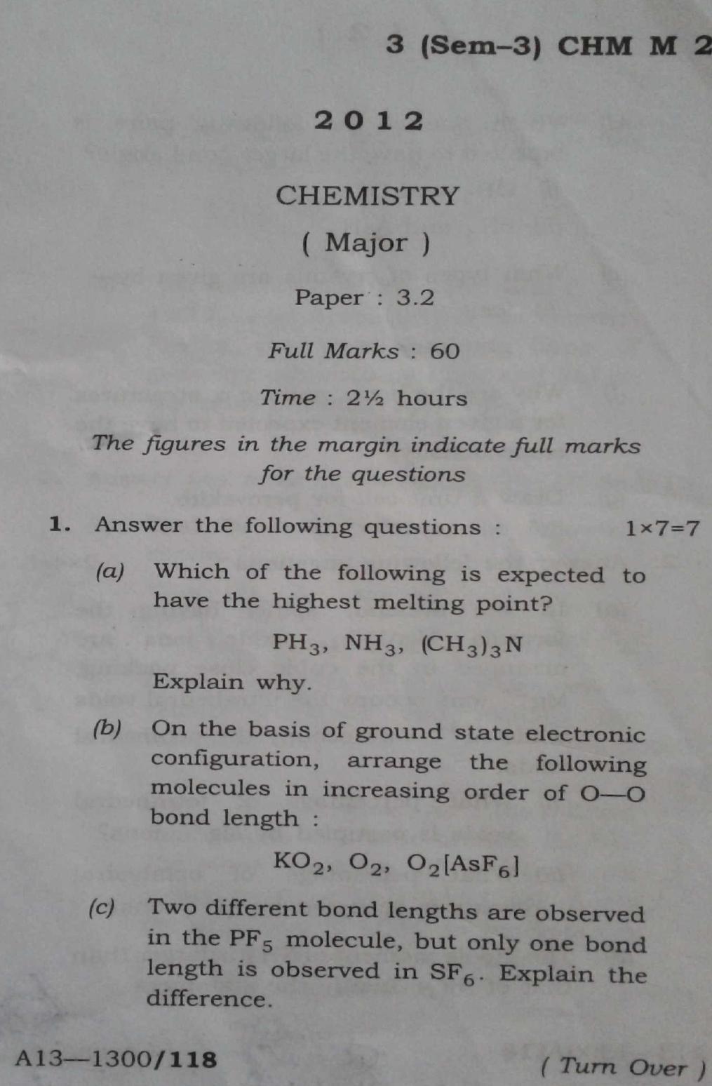 Gauhati University BSc Chemistry Major 2nd Sem 2012 Question