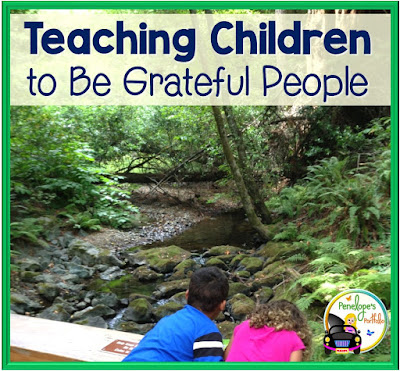 Two children overlook a peaceful creek with lush greenery, and pratice gratitude