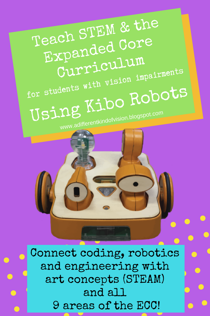 "Blog graphic that says ""Teach STEM & The Expanded Core Curriculum Using Kibo Robots with a pciture of a Kibo robot."