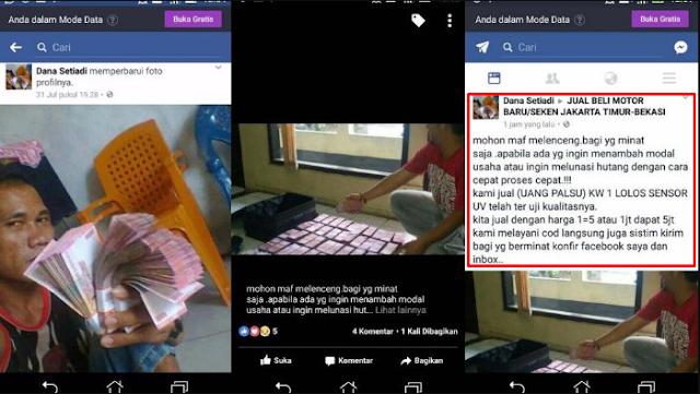 Akun Ini Tawarkan Uang Palsu Di Grup Jual Beli Facebook, Minta Diciduk Polisi Nih!
