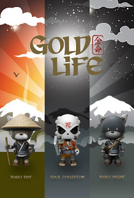 Gold Life Vinyl Figure Series by Huck Gee x Mighty Jaxx - Soul Collector, Raku Day & Raku Night