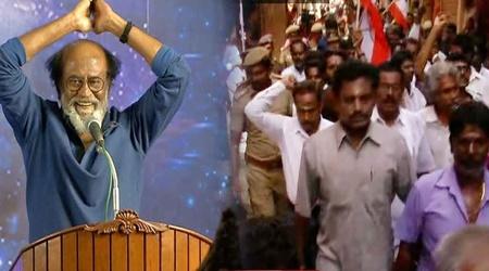 Rajini fans protest against Seeman & Veeralakshmi