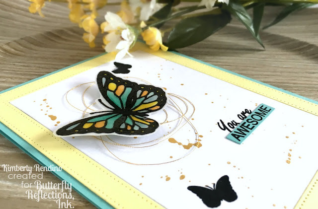 handmade card | vellum | butterflies | Jane's Doodles | Butterfly Reflections, Ink. | kimpletekreativity.blogspot.com | clear stamps|