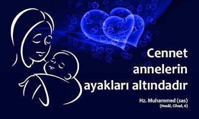cennet, anne, ana, ayak, hadis, Hz. Muhammed, kalpler, anne bebek,