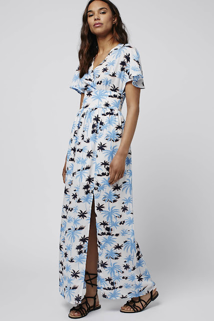 palm tree maxi dress, jovonna print maxi dress, short sleeve maxi dress, short sleeve button maxi dress,