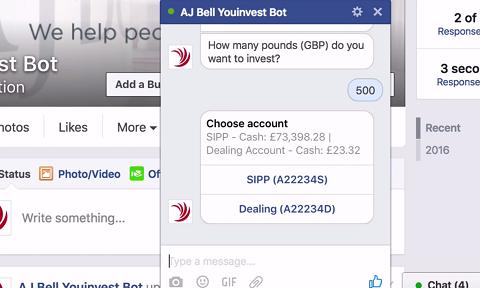 Démonstration AJ Bell sur Facebook Messenger