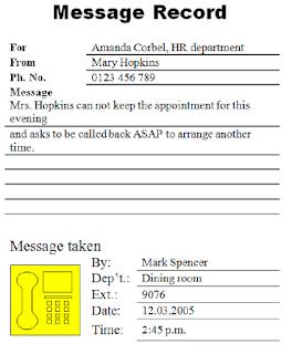 Contoh formulir Message Record, Mencatat Pesan Telepon