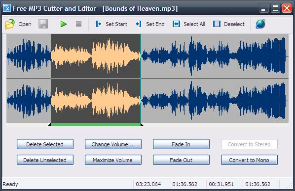 واجهة برنامج قص الاغاني Free MP3 Cutter and Editor