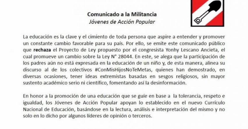 Jóvenes de Acción Popular rechazan proyecto de Congresista Lescano contra Currículo Escolar