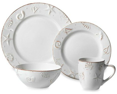 White Dinnerware Plates and Mugs with Embossed Seashells