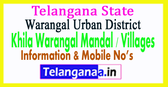 Khila Warangal Mandal Villages in Warangal Urban District Telangana