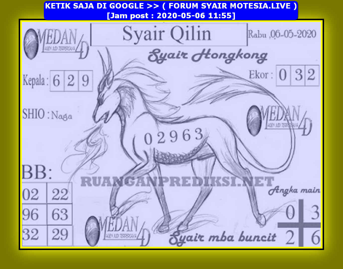 Kode syair Hongkong Rabu 6 Mei 2020 226