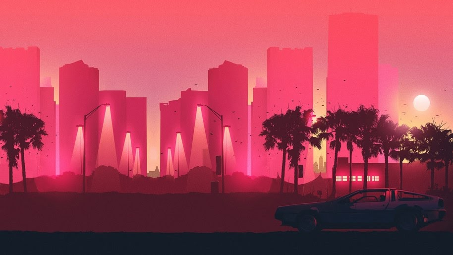 City, Buildings, Night, Minimalist, Digital Art, 4K, #32