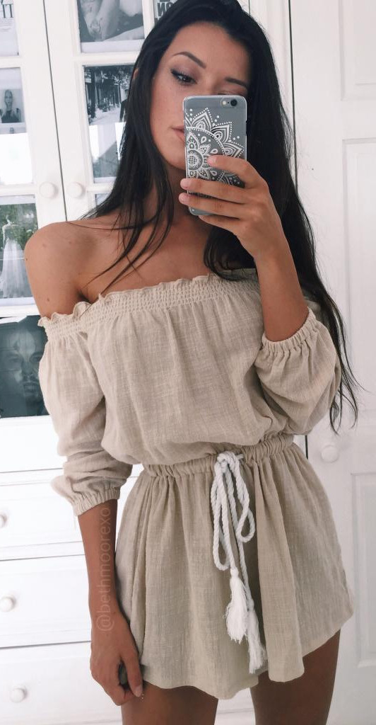 nude shade off-the-shoulder summer romper