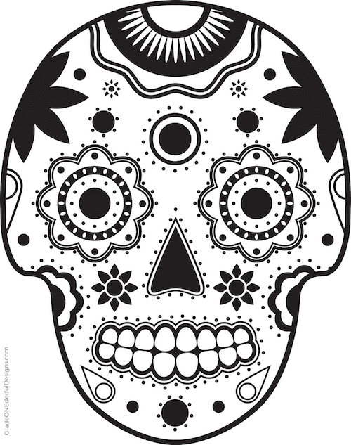 A free sugar skull colouring page. Lots of cute and colourful sugar skull clip art! By Grade ONEderful.