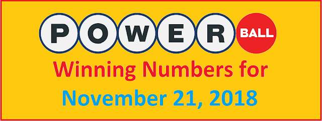 PowerBall Winning Numbers for Wednesday, 21 November 2018