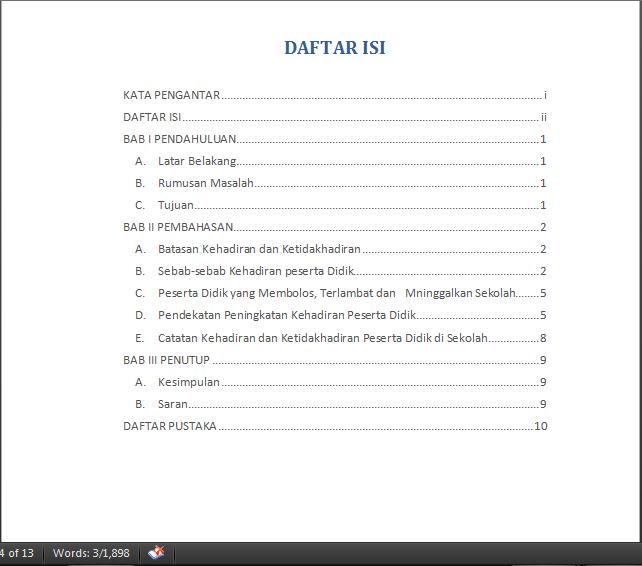 Cara Membuat Titik Titik Daftar Isi Rapi Dan Otomatis Di Ms Word 2007 2010 2013 2016 Panduan Ms Office