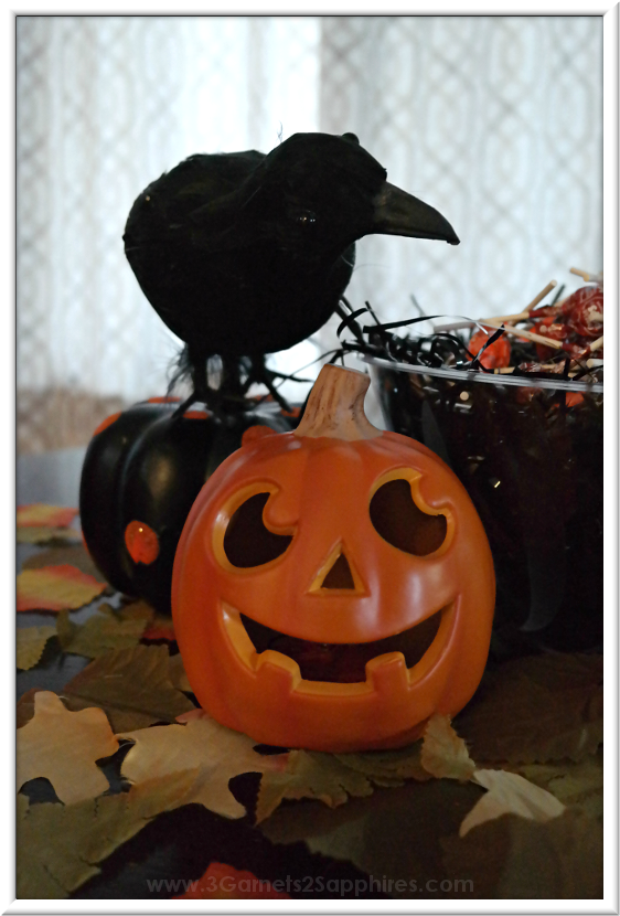 Black Crow-Themed Halloween Decorating Ideas  |  3 Garnets & 2 Sapphires