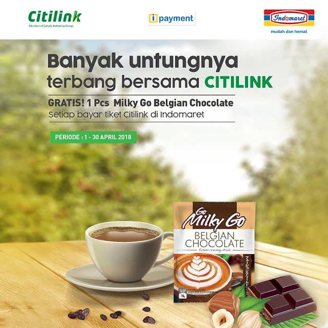 tiket Citilink di Indomaret Gratis! 1 pcs Milky Go Belgian Chocolate