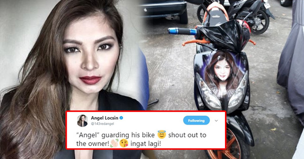 Angel Locsin Admires A Motorbike User Who Had Her Face Printed on His Motorcycle