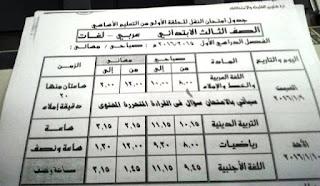 جدول الشهادة الاعدادية في القليوبية ترم اول بتاريخ 18 ديسمبر 2015 المنهاج المصري 3.jpg