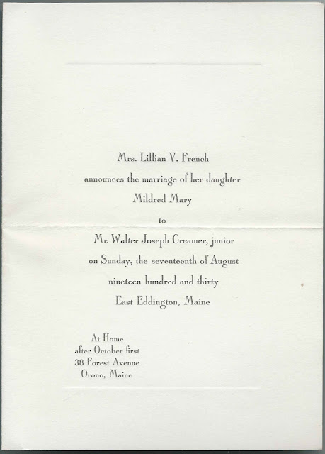 1930 Wedding Announcement: Mildred Mary French and Walter Joseph Creamer, Jr., at East Eddington, Maine