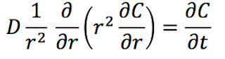 The diffusion equation in spherical coordinates.