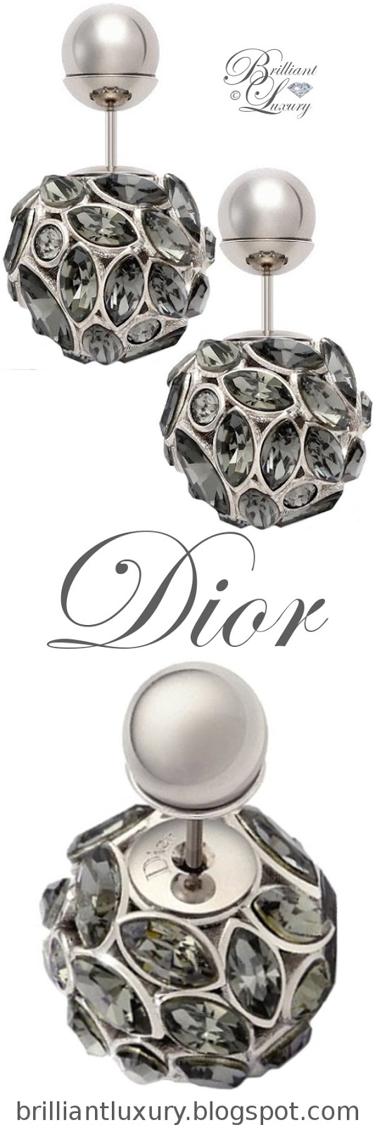 Brilliant Luxury ♦ Dior 'Mise en Dior' tribal-inspired white-gold earrings