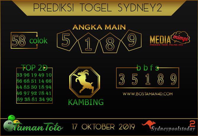 Prediksi Togel SYDNEY 2 TAMAN TOTO 17 OKTOBER 2019