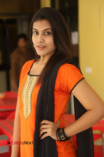 Telugu Actress Chandana Stills in Salwar Kameez at Karam Dosa Movie Press Meet  0043.JPG