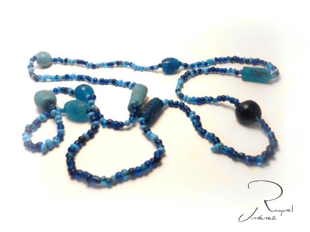collar, azul, piedra preciosa, gema, artesania, bisuteria