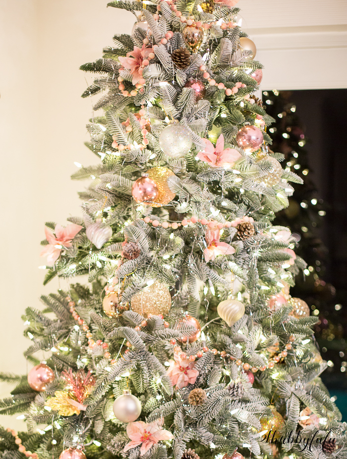 victorian style christmas tree pink