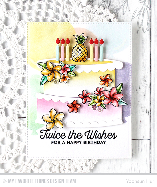 Handmade card from Yoonsun Hur featuring Twice the Wishes Card Kit#mftstamps