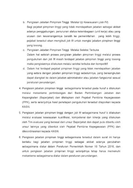 Surat Menteri PANRB Tentang Pengisian JPT di Pemprov dan Pemkab Terkait Pelaksanaan PP Nomor 18 Tahun 2016 Tentang Perangkat Daerah