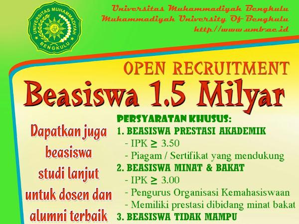 Beasiswa 1,5 M Universitas Muhammadiyah Bengkulu