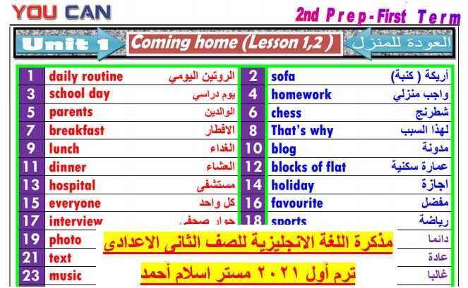 مذكرة اللغة الانجليزية تانيه اعدادى ترم اول2021- موقع مدرستى