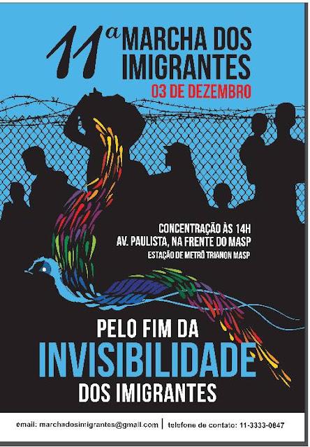 """A Marcha está marcada para 3 de dezembro, a partir das 14h, com concentração no vão livre do Museu de Arte de São Paulo (MASP), na avenida Paulista – mesmo local do ano anterior. Em seguida, a manifestação segue pela via, que fica aberta para pedestres aos domingos.  Para este ano, o lema da Marcha é """"Pelo Fim da Invisibilidade dos Imigrantes"""", uma alusão às dificuldades que os imigrantes possuem para se expressar junto ao poder público, nos eventos ligados à temática que não incluem migrantes nos debates, entre outras situações."""