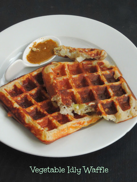 Waffle with Idly Batter, Vegetable Idly Waffle