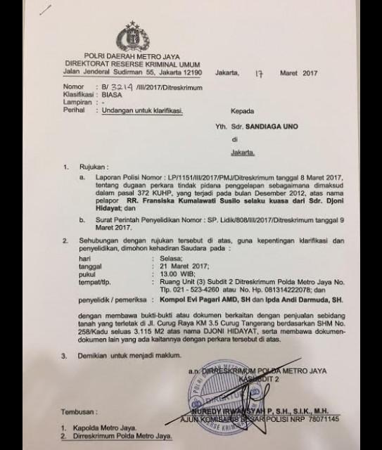 Surat panggilan pemeriksaan Sandiaga Uno