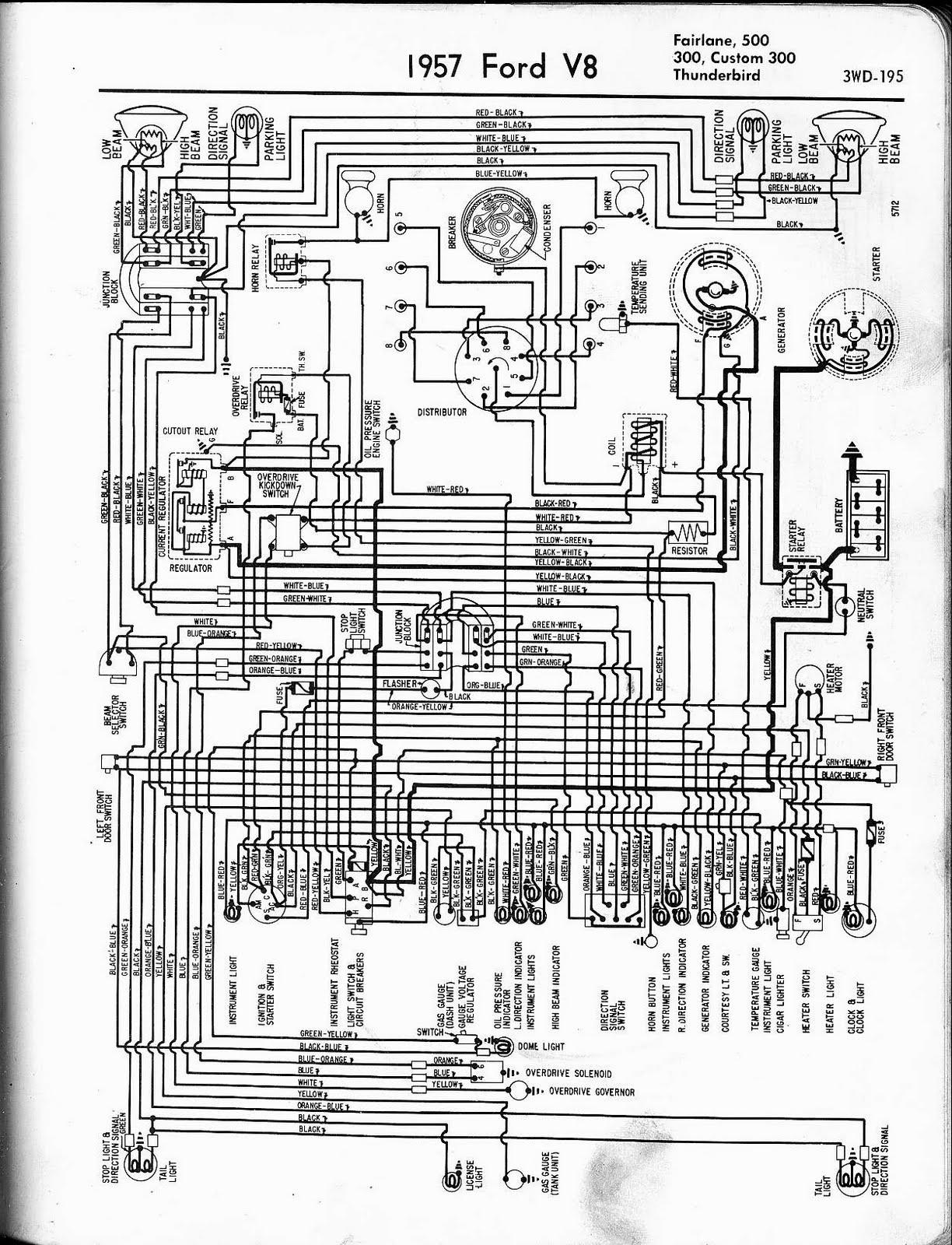 free auto wiring diagram  1957 ford v8 fairlane  custom300