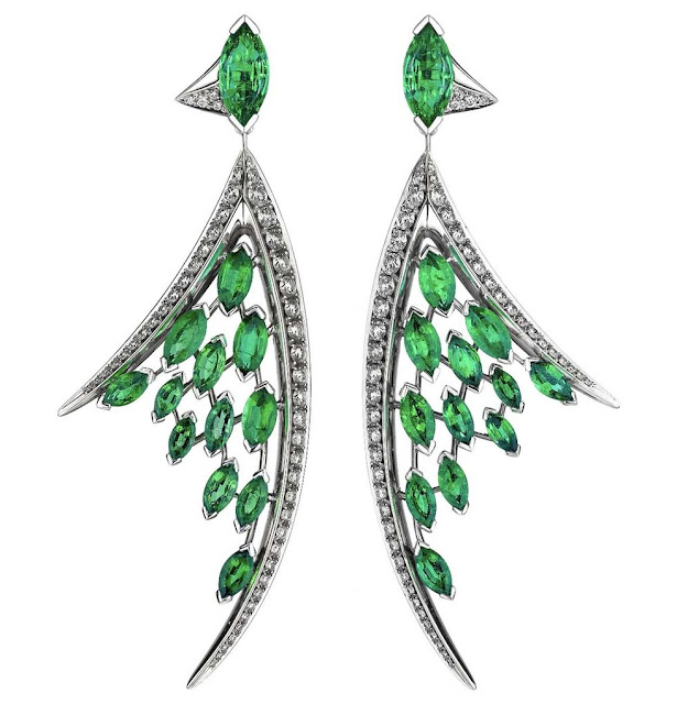 White Gold Diamond and Emerald Earrings