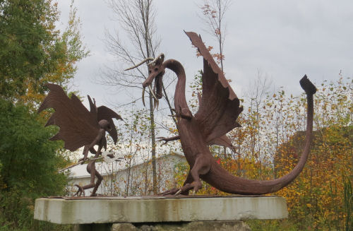 Onaway, Michigan knight and dragon sculpture