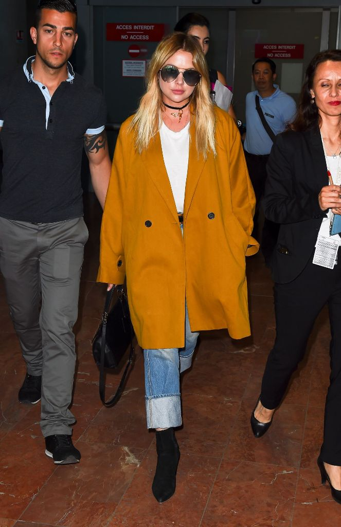 Ashley Benson Travel Outfit Arriving at Nice Airport
