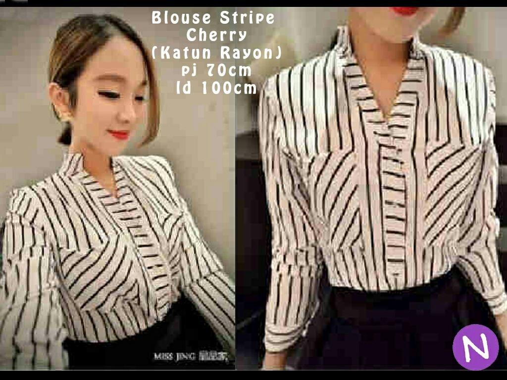 Jual Baju Lengan Panjang Blouse Cherry Stripes - 12664