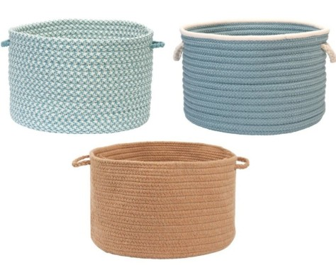 Braided Storage Bins Blue and Sandy Beige