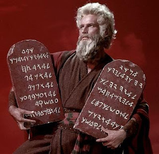 Moses holding 2 tablets with 10 Commandments