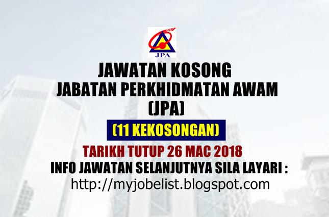 Jawatan Kosong Jabatan Perkhidmatan Awam (JPA) Mac 2018
